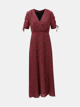 Rochie maxi negru-bordo florala French Connection