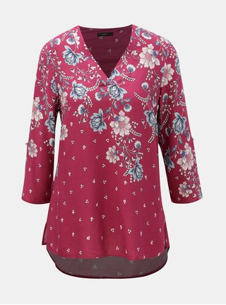 Bluza roz inchis florala cu maneci 3/4 M&Co