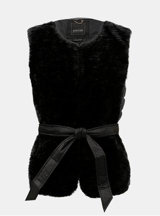 Černá dámská prošívaná lehká péřová vesta s umělým kožíškem Geox
