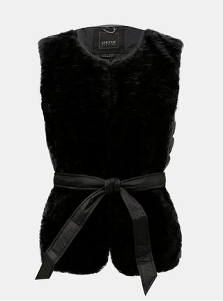 Vesta neagra de dama lejera matlasata de puf cu blana artificiala Geox