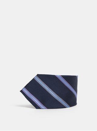Tmavě modrá vzorovaná hedvábná kravata Dice