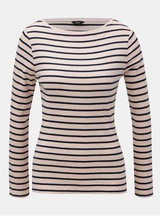 Modro-růžové pruhované basic tričko s dlouhým rukávem M&Co