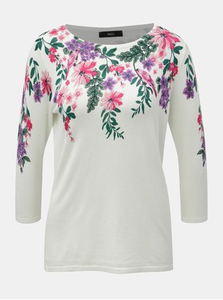 Pulover alb floral cu maneci 3/4 M&Co