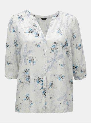 Biela kvetovaná blúzka s 3/4 rukávom M&Co Plus