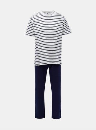 Pijama barbateasca din 2 piese alb-albastru in dungi M&Co
