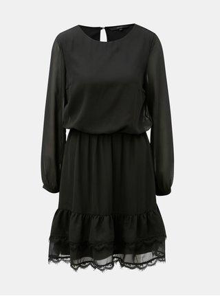 Čierne šaty s dlhým rukávom a čipkovanými detailmi VERO MODA