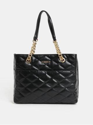Černá prošívaná kabelka s detaily ve zlaté barvě Hampton