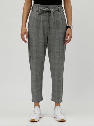 Šedé kostkované zkrácené kalhoty s vysokým pasem VERO MODA