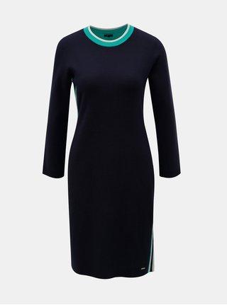 Tmavě modré svetrové šaty s pruhy na bocích Nautica