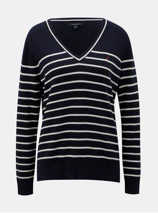 Krémovo-modrý pruhovaný lehký svetr Nautica