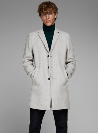 Sivý melírovaný kabát na gombíky s prímesou vlny Jack & Jones Morten