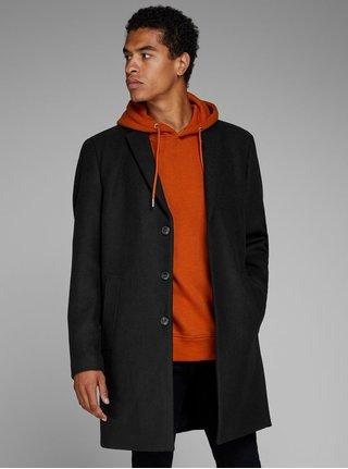 Čierny kabát na gombíky s prímesou vlny Jack & Jones Morten