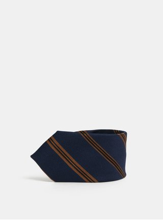 Cravata albastru inchis din matase in dungi Jack & Jones Johan