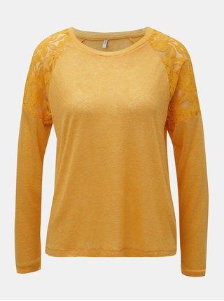 Oranžové tričko s čipkou na ramenách ONLY