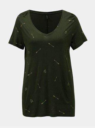 Tmavozelené voľné tričko s motívom sŕdc a šípov ONLY Sabel