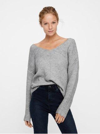 Šedý žíhaný oversize svetr s krajkou na zádech VERO MODA Buena