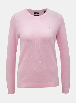 Růžový dámský svetr s vyšitým logem GANT Pique Crew