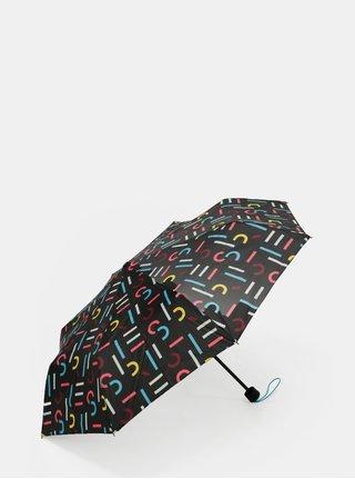 Černý vzorovaný skládací deštník Esprit Super Mini