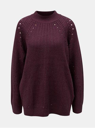 Vínové oversize sveter s dierkovaným vzorom VERO MODA Jay