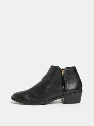 Černé dámské kožené kotníkové boty ALDO Veradia