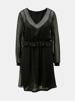 Černé šaty s volánem a gumou v pase VERO MODA Becca
