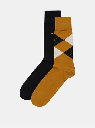 Balenie dvoch párov pánskych ponožiek v horčicovej a tmavomodrej farbe s kockovaným vzorom Tommy Hilfiger