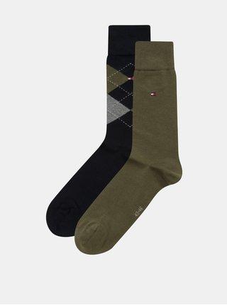 Sada dvou párů pánských ponožek v khaki a tmavě modré barvě s kostkovaným vzorem Tommy Hilfiger