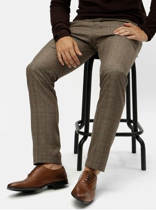 Pantaloni formali maro in carouri Selected Homme