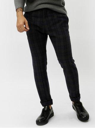 Tmavě modré vlněné kostkované oblekové kalhoty Selected Homme