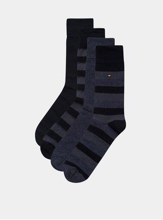 Darčekové balenie štyroch párov pánskych ponožiek v tmavomodrej farbe Tommy Hilfiger