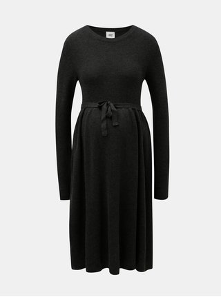 Tmavosivé tehotenské svetrové šaty Mama.licious Zoe