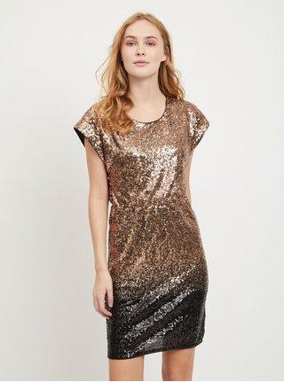 Šaty s flitry v černo-zlaté barvě VILA Elvia
