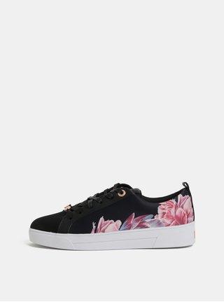 Růžovo-černé dámské květované tenisky Ted Baker