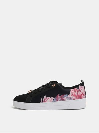 Pantofi sport de dama roz-negru florali Ted Baker
