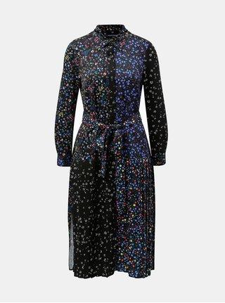 Modro-černé vzorované košilové šaty French Connection