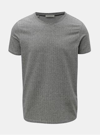 Sivé basic tričko s krátkym rukávom Selected Homme Clinton