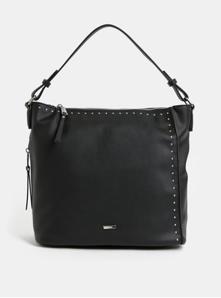 Černá kabelka přes rameno s detaily ve stříbrné barvě Gionni Aurea