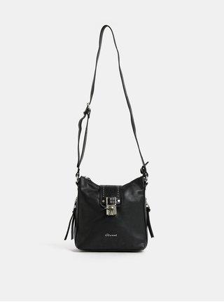 Čierna crossbody kabelka s ozdobnými detailmi v striebornej farbe Gionni Talia Key