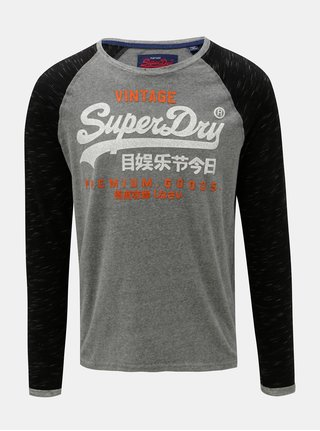 Bluza sport barbateasca gri melanj cu imprimeu Superdry