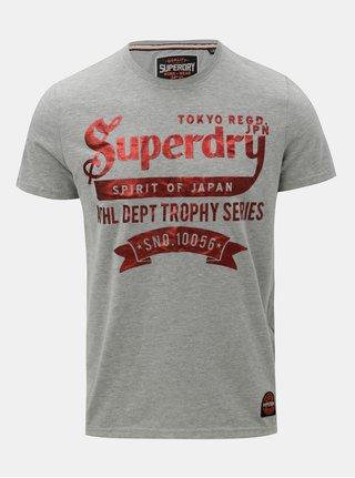 Tricou barbatesc gri cu maneci scurte si imprimeu Superdry