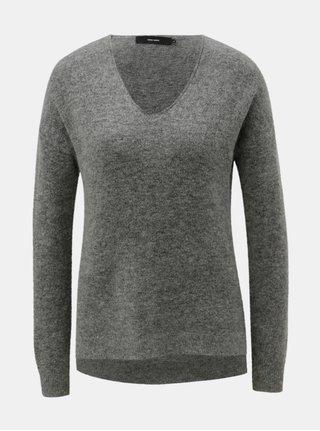 Sivý sveter s prímesou mohéru a vlny VERO MODA Cuddle