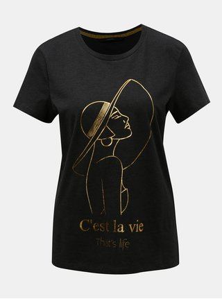 Tricou gri inchis cu imprimeu auriu VERO MODA Fancy