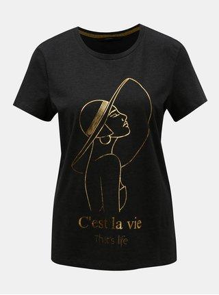 Tmavosivé tričko s potlačou v zlatej farbe VERO MODA Fancy