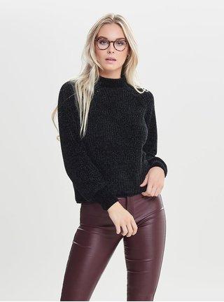 Čierny sveter so stojačikom Jacqueline de Yong Chenilla