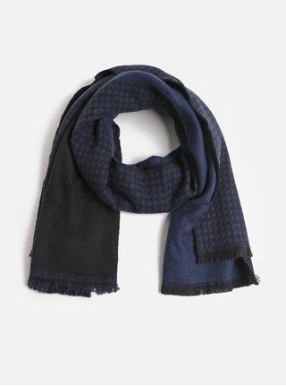 Černo-modrá vzorovaná šála Pieces Kit