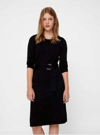 Čierne svetrové šaty s opaskom VERO MODA Sidse