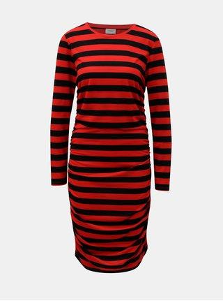 Černo-červené pruhované šaty s řasením na bocích Jacqueline de Yong Rosa