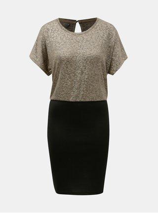 Pouzdrové šaty v černé a zlaté barvě ONLY Plearl