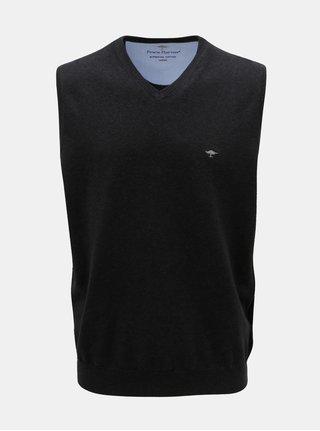 Vesta tricotata gri inchis cu decolteu in V Fynch-Hatton