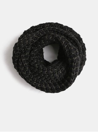 Černá vzorovaná šála s metalickým vláknem ONLY Tibana